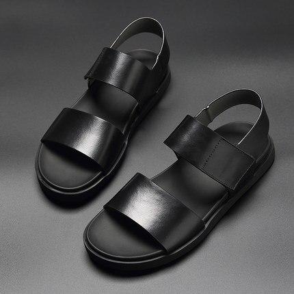 קיץ כפכפים גברים מעולה עגל עור, מגניב אך פונקציונלי קלאסי ספורט נעלי גברים חוף נעלי זכר נעליים יומיומיות סנדלי