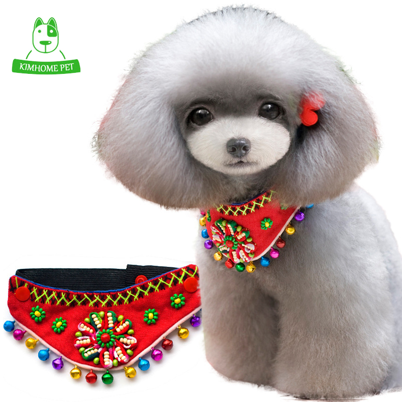 KIMHOME Blue Black Red Adjustable National Features Beads Bells Puppy Dog Bandana Neck Scarf Collar