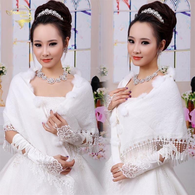 New Wedding Bolero Outerwear Wedding Accessories Urged Wrap Bride Formal Winter Cape Bride Fur Shawl Wedding Jacket Wrap OJ00172