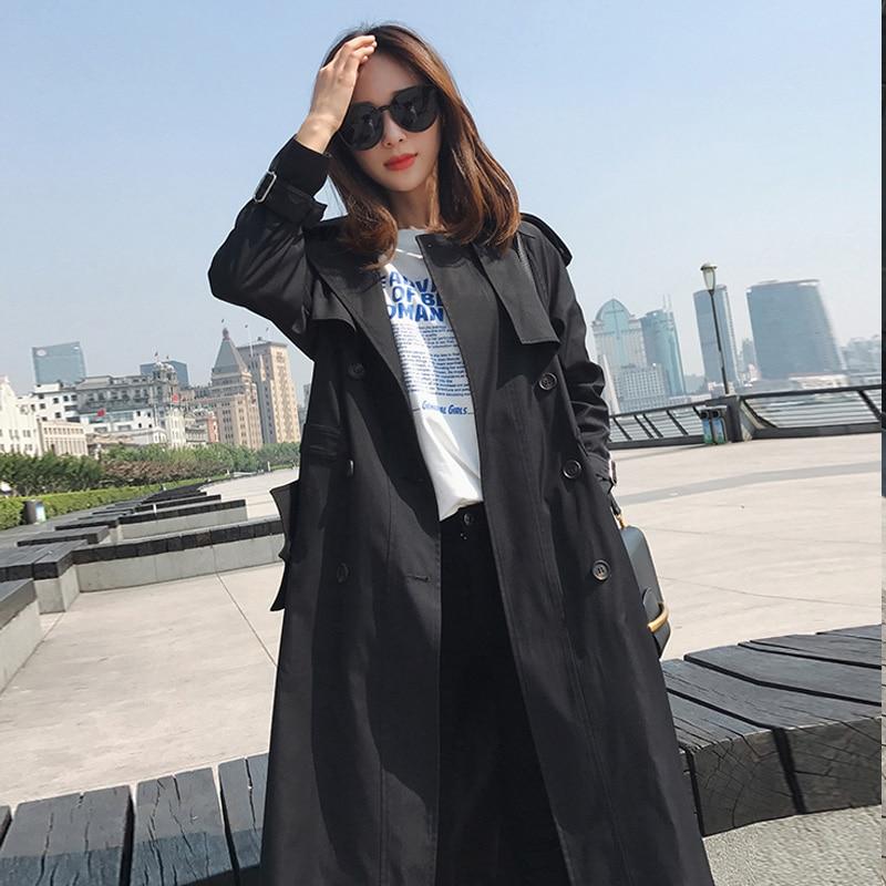 Manteau Mode longue Femmes khaki Ceinture Coupe Automne Mujer Mince Milieu vent 2018 Casual Breasted Black Femelle caramel Double Kaki S3 Color Tranchée Azw0Fntq5n