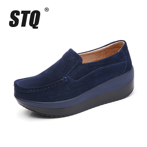 Image 2 - STQ 2020 סתיו נשים שטוח פלטפורמת נעלי גבירותיי זמש עור שטוח נעלי נשים להחליק על נעליים יומיומיות מוקסינים מטפסי 828