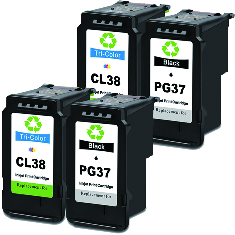 Remanufactured Ink Cartridge Replacement <font><b>PG</b></font>-<font><b>37</b></font> CL-38 for <font><b>Canon</b></font> Pixma iP1800 iP1900 iP2500 iP2600 MP140 MP190 image