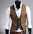 Mens Plaid Vest Fake 2 pcs Slim Fit Waistcoat Men Men's Vest Casual Sleeveless Gilet Black Korean Mens Vest Coletes Masculino