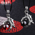 Beier 925 silver sterling  pendant black and red colour dragon claw pendant necklace fashion Jewelry free give rope A0724