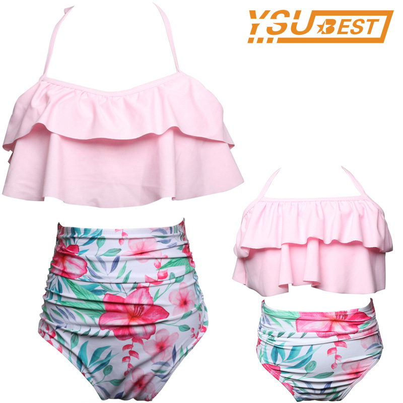2018 Mom And Daughter Bikini Garments Household Matching Swimwear Mom Youngsters Household Look Mother And Daughter Swimsuit Outfit Ladies