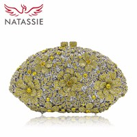 Natassie Fashion Floral Crystal Cocktail Evening Bag Party Handbag Bridal Purse For Women Day Clutches