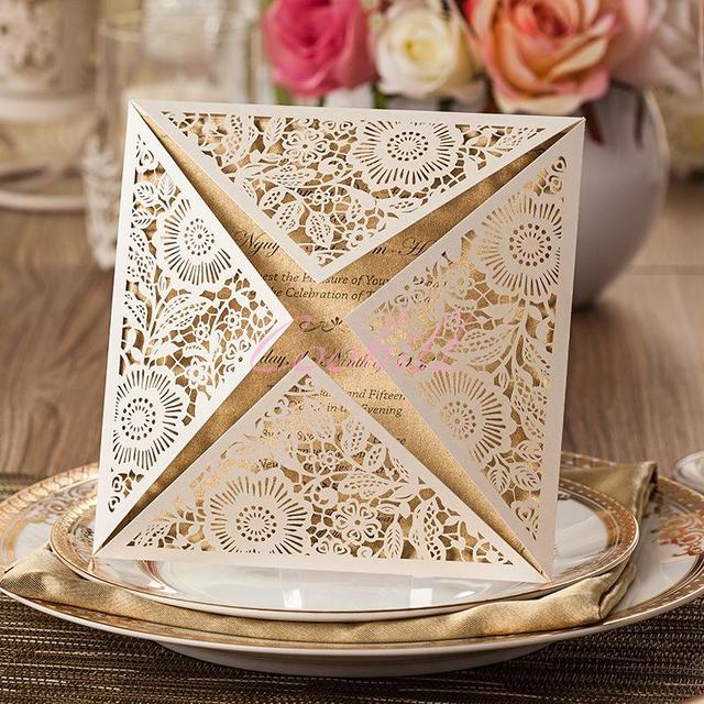 50 Sets Luxury Laser Cut Wedding Invitations Cards Engagement Gatefold Invite DIY 6363