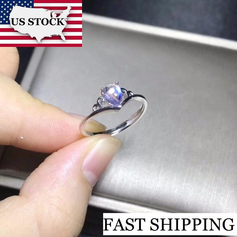 925 Sterling Silver Ladies Moonstone Big Cushion Cut Gemstone Ring Jewellery
