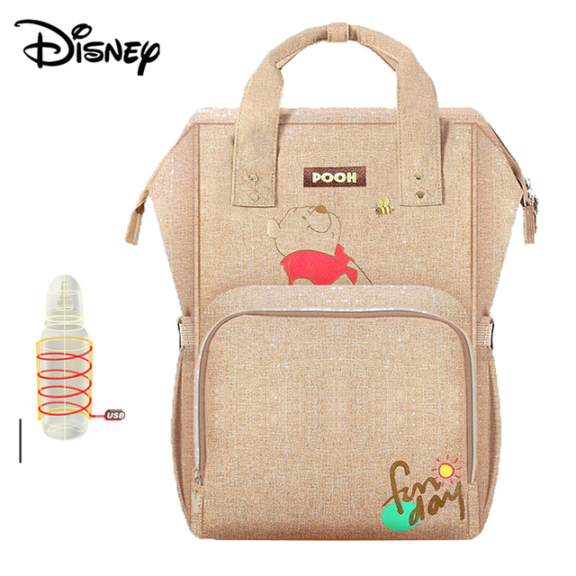 Disney Baby Diaper Bags USB Heating Mummy Maternity Nappy Diaper Stroller Bag Insulation bebek bakim cantalari Travel Backpack