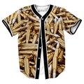 Camisas de los hombres Bala Colección Jersey sobrecamisa impresión 3d Streetwear Hip Hop tops con Un Solo Pecho camisa de béisbol