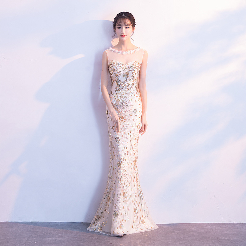 New Floral Trim Female Cheongsam Gold Sequins Mermaid Qipao Sexy Evening Party Dress Women Full Length Clothing Size XS-XXL