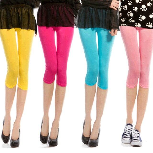 Mùa hè màu kẹo Ice Silk Gợi Cảm Quần legging nữ Thoải Mái Spandex thoáng mát và thoáng khí Quần cạp Thun Legging L1005