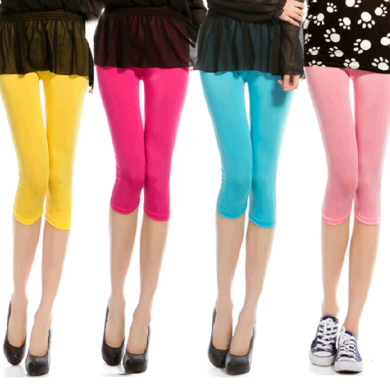 Summer candy color Ice silk sexy   leggings   female Comfortable Spandex cool and breathable thin   Leggings   L1005