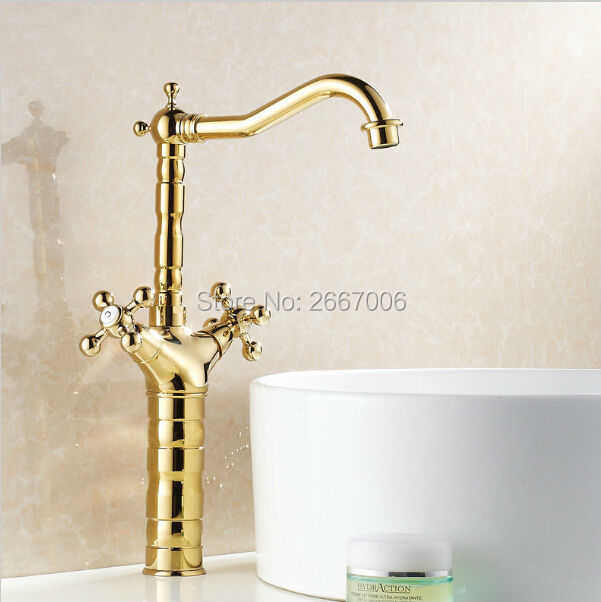 Free shipping countertop bathroom faucet gold double cross - Single hole cross handle bathroom faucet ...