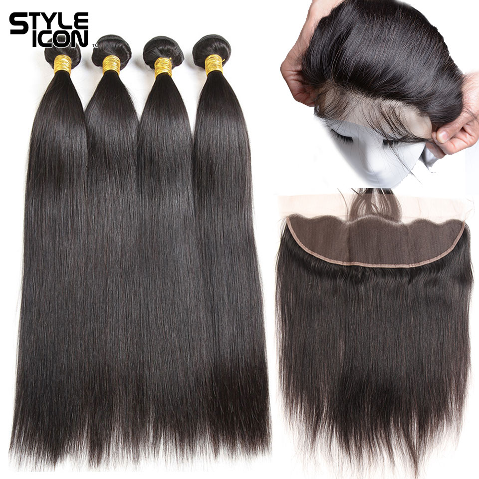 Styleicon Hair Raw Indian Straight Hair Bundles with Frontal 13x4 Ear to Ear Non-Remy 3 Bundles Straight Hair Weave with Closure
