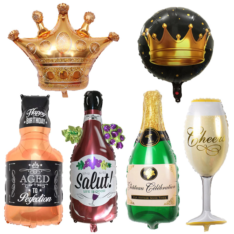 1pcs Large Champagne Wine Cup Foil Balloons Gold Crown Birthday Wedding Decoration party Anniversary <font><b>ballons</b></font> Gift globos image