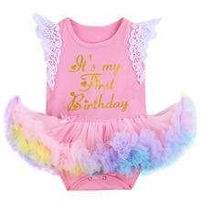 Cute Baby Girls Romper Dress for 1st Birthday Cake Smash Flutter Sleeve Letter Print Ruffles Newborn Girl Baby Birthday Clothes