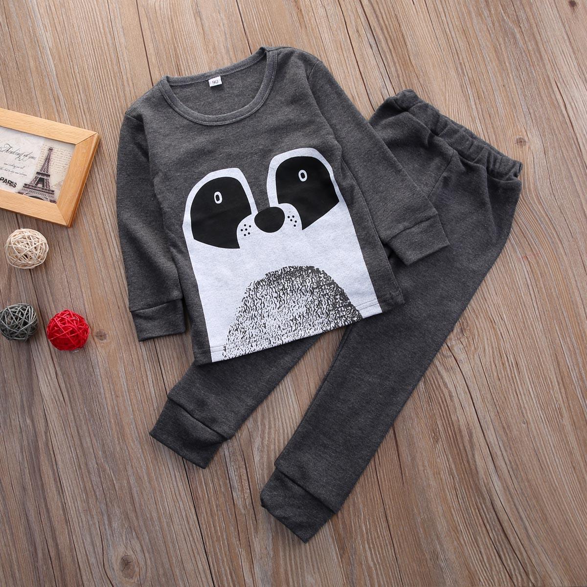 2 Stücke Baumwolle Baby Mädchen Jungen Mode Niedlichen Bär Tops + Hosen Pyjamas Nachtwäsche T-shirt Hosen Pyjamas Gesundheit Effektiv StäRken