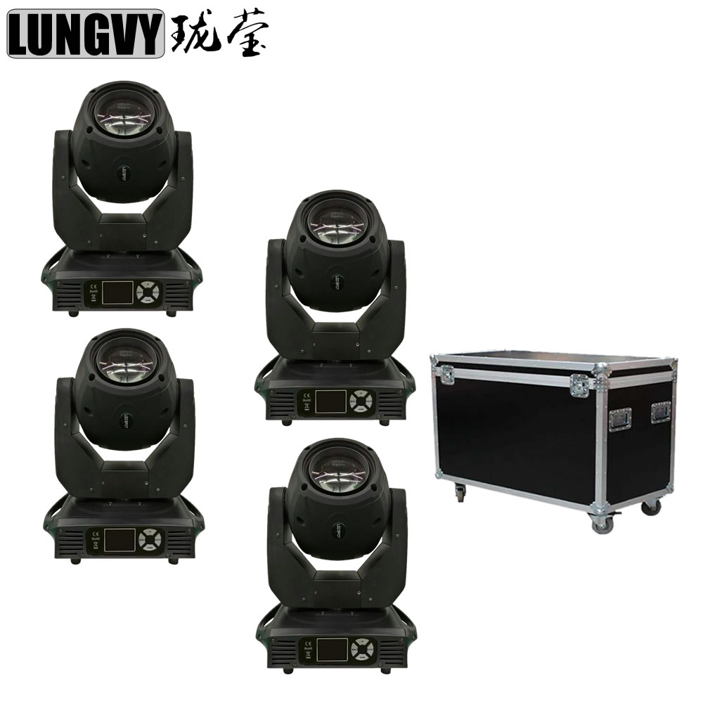 Free Shipping 4pcs/Lot Flight Case Packing 150W Spot Light LED Moving Head 8-Facet Prism Gobo Light For Disco DJ Stage