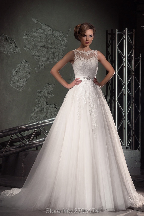 Tank Top A line Wedding Dresses Crystals Belt Bridal Wedding Gown ...