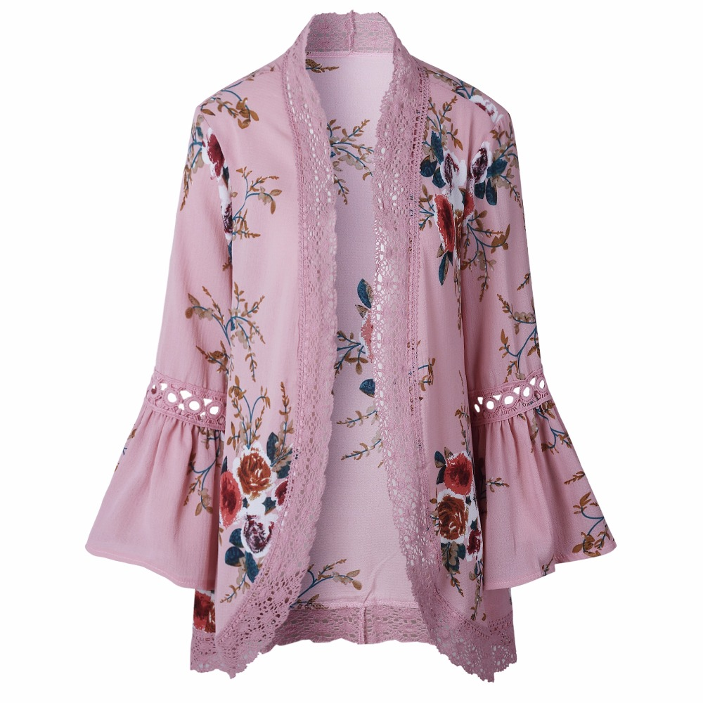 Autumn 2019 Boho Women Jacket Lace Flare Long Sleeve Slim Casual Open Stitch Tops Fashion Women Clothes Spring Shirt Coat Jacket