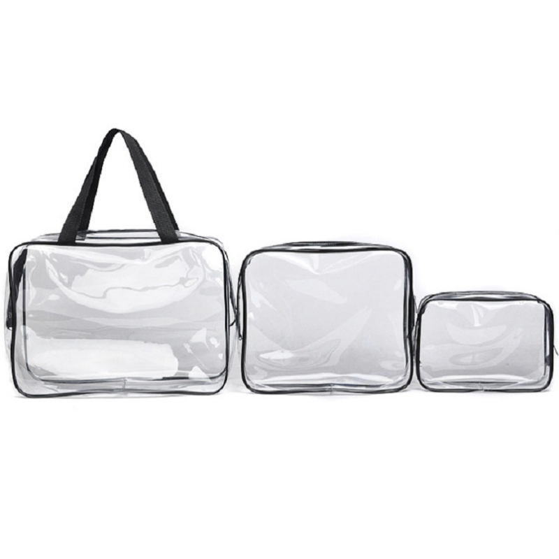 Transparent Waterproof Swimming Bags Sports Travel Bathing Storage Durable Bag Zipper Clear PVC Organizer Phone Pocket