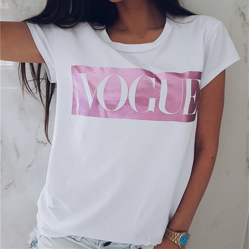 Women's friends VOGUE Print T-shirt Ladies Letter Top pokemon Short Sleeve Fashion O-neck TShirt Cotton T-Shirt Women's T Shirt 2