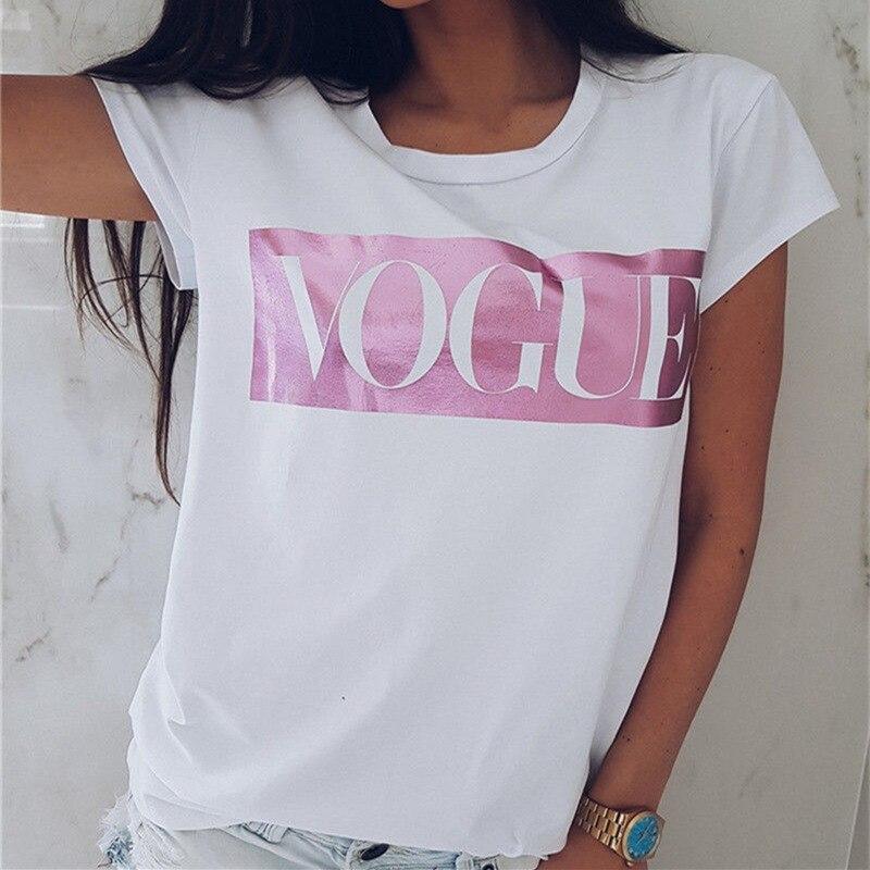 Kobiety to, że przyjaciele VOGUE T-Shirt z nadrukiem panie koszulka z napisem pokemon z krótkim rękawem moda koszulka z dekoltem w bawełniana koszulka damska T Shirt 3