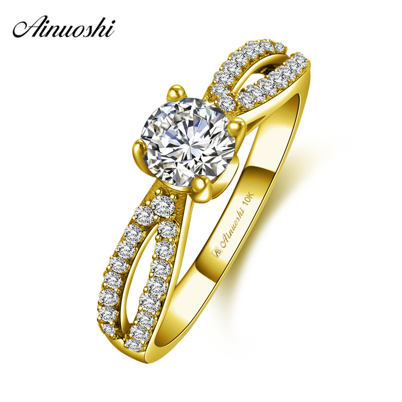 AINUOSHI 10k Solid Yellow Gold Knot bow Ring Female Wedding Engagement Jewelry 4 Prongs 0.5ct Round Cut SONA Diamond Bridal BandAINUOSHI 10k Solid Yellow Gold Knot bow Ring Female Wedding Engagement Jewelry 4 Prongs 0.5ct Round Cut SONA Diamond Bridal Band