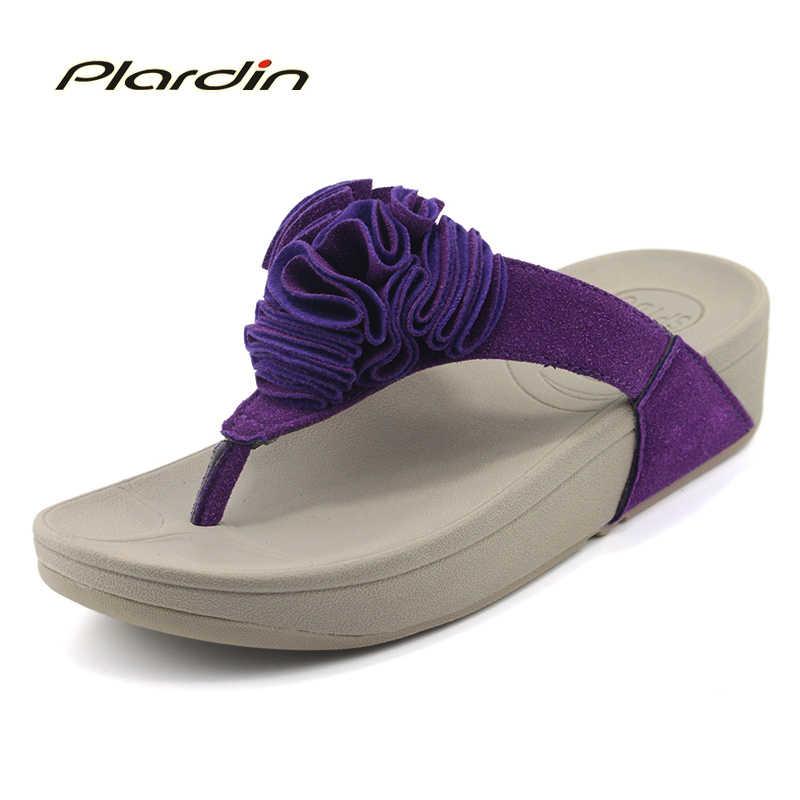 Plardin 2019 bohême été décontracté femmes compensées plate-forme femme dames fleur cristal daim matériel chaussures compensées