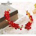 Ручной позолоченный Красный Цветок лист Оголовье Старинные Жемчужина Головной Убор Диадемы Свадебные Аксессуары Для Волос Свадебные Украшения