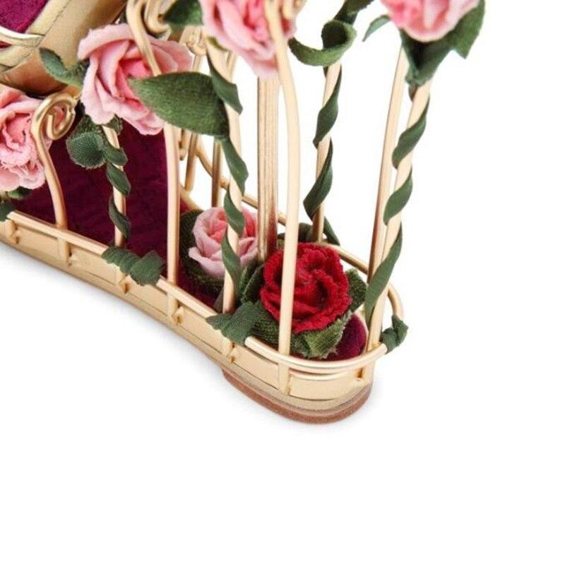 Fleur Femme forme 17 Cage Cm Picture Strap Désherbage Sandales Picture as Cheville En Style Talons Plate Élégant Wedge Métal Embelli Sandale As Rayé Chaussures dwq08dT