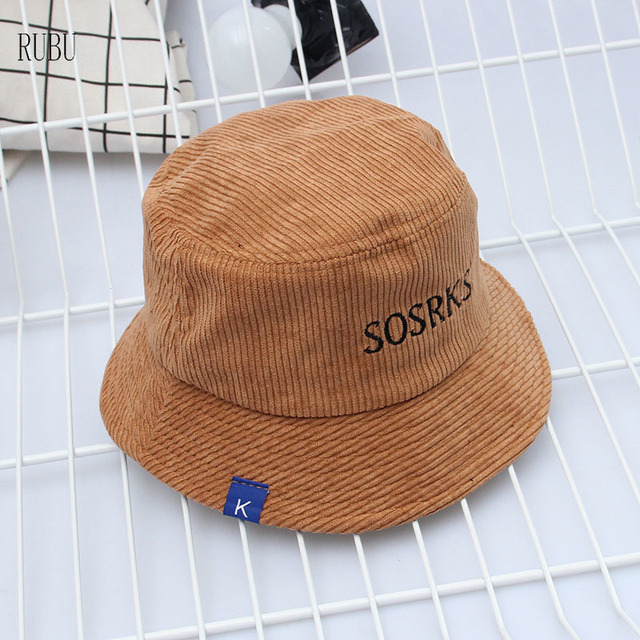 Hat Autumn and winter women s corduroy fisherman s hat Korean version  Harajuku leisure wild alphabet embroidery basin cap male 02d3d7abffbe