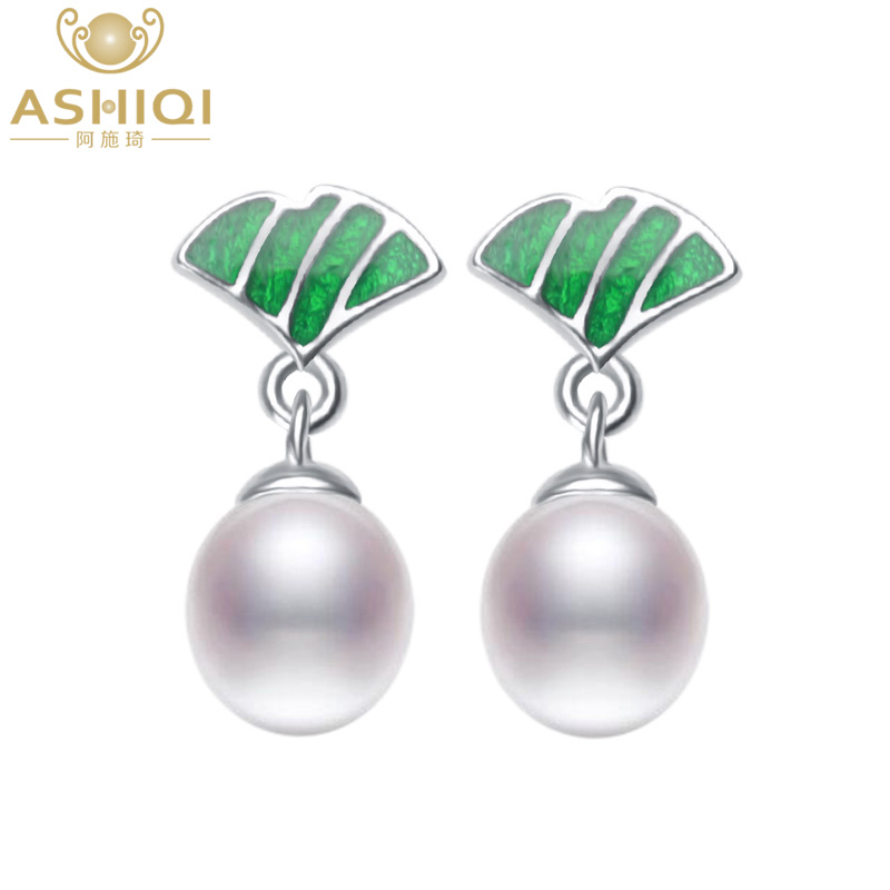 ASHIQI Authentic 925 sterling silver Natural Freshwater Pearl Drop Earrings Enamel Lotus leaf for Women Gift Drop shipping