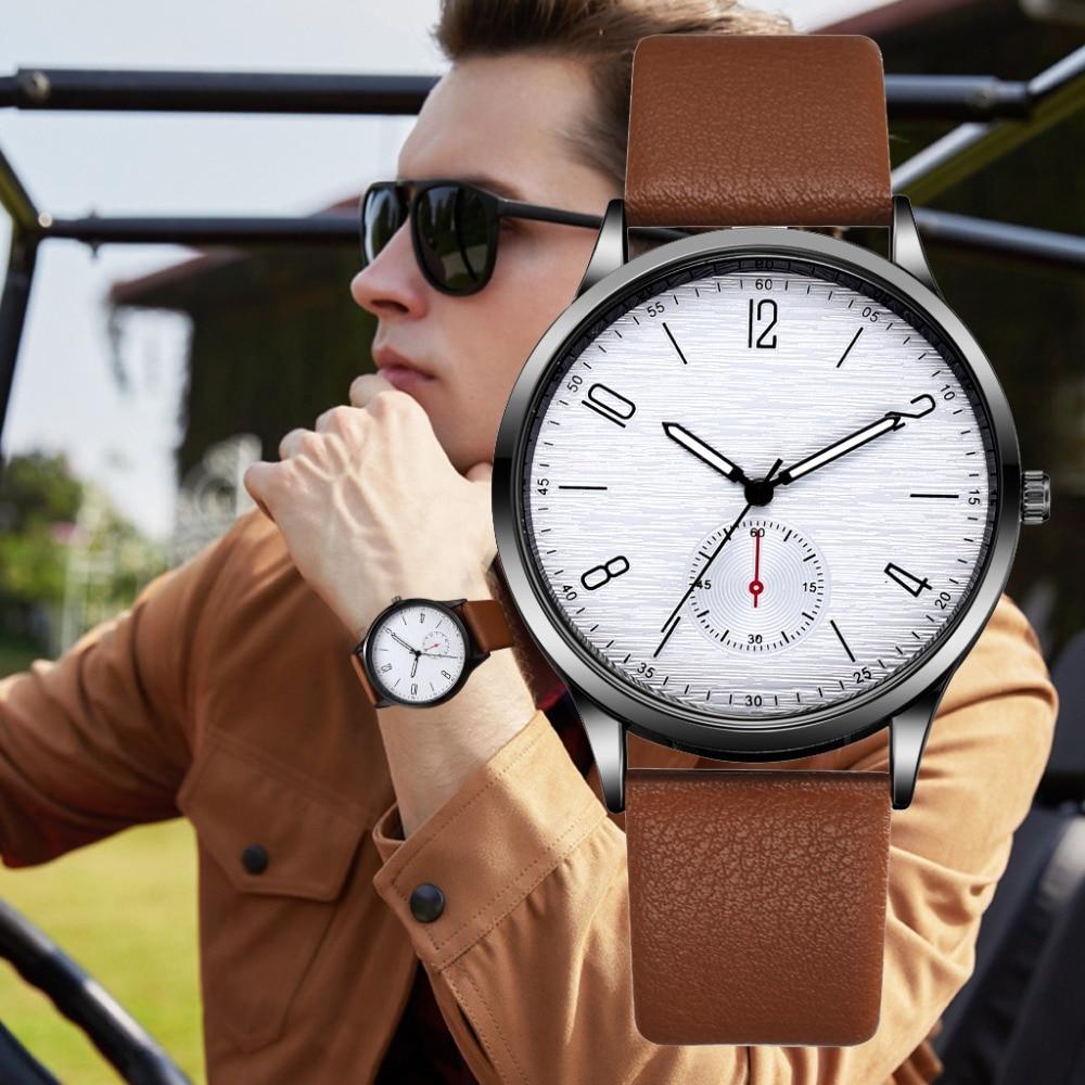 Новинка 2019, роскошные Брендовые мужские спортивные часы, мужские кварцевые часы, мужские армейские военные наручные часы с кожаным ремешко...