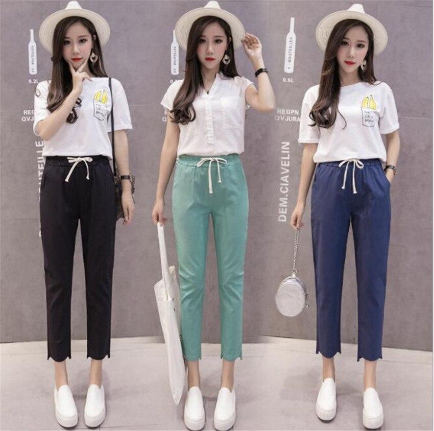 Mlcriyg корейской моды для отдыха хлопковые прямые ноги Женская Мода Штаны