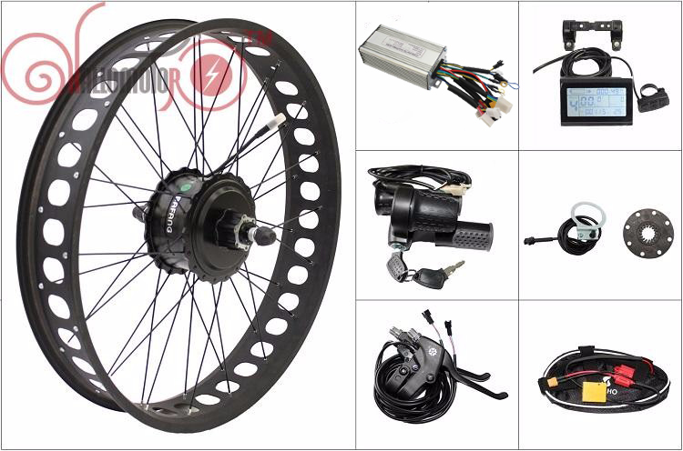 FREE SHIPPING 48V 500W 175mm Ebike Conversion Kits Bafang Freehub Cassette Rear Wheel Fat Tire LCD, Controller, Throttle, Brakes