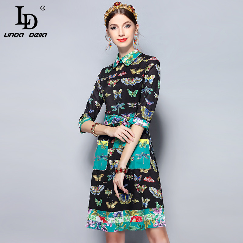 LD LINDA DELLA Fashion Runway Summer Dress Women's Half Sleeve Elegant Belt Pockets Beading Butterfly Floral Print Vintage Dress half placket pearl beading tie cuff dress