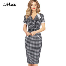 Summer women sexy Turn down collar Plaid Party pencil Bodycon Short sleeve Knee Length Slim office work dresses tartan clothing