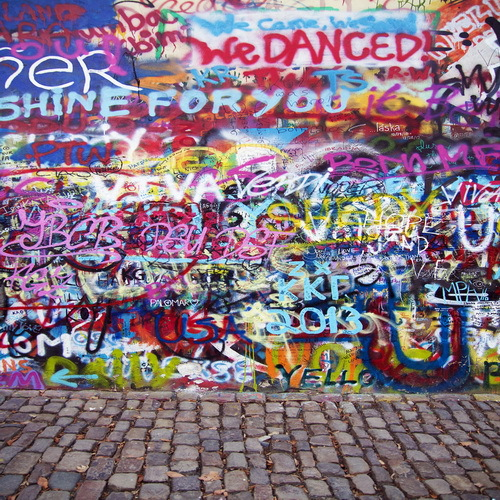 Graffiti Art Wallpapers Group 71: 8x12FT Street Bricks Pavement Colors Graffiti Doodles Wall