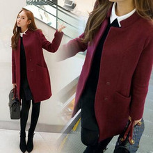2016 Fashion long wool coat women's elegant high quality cashmere jacket plus size single-breasted stand collar woolen overcoat
