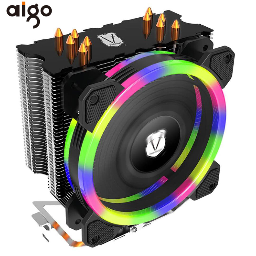 цена Aigo 5 Heatpipes CPU Cooler Radiator Led RGB TDP 280W Heat Sink AMD Intel Silent 120mm 4Pin PC CPU Cooling Cooler Heatsink Fan