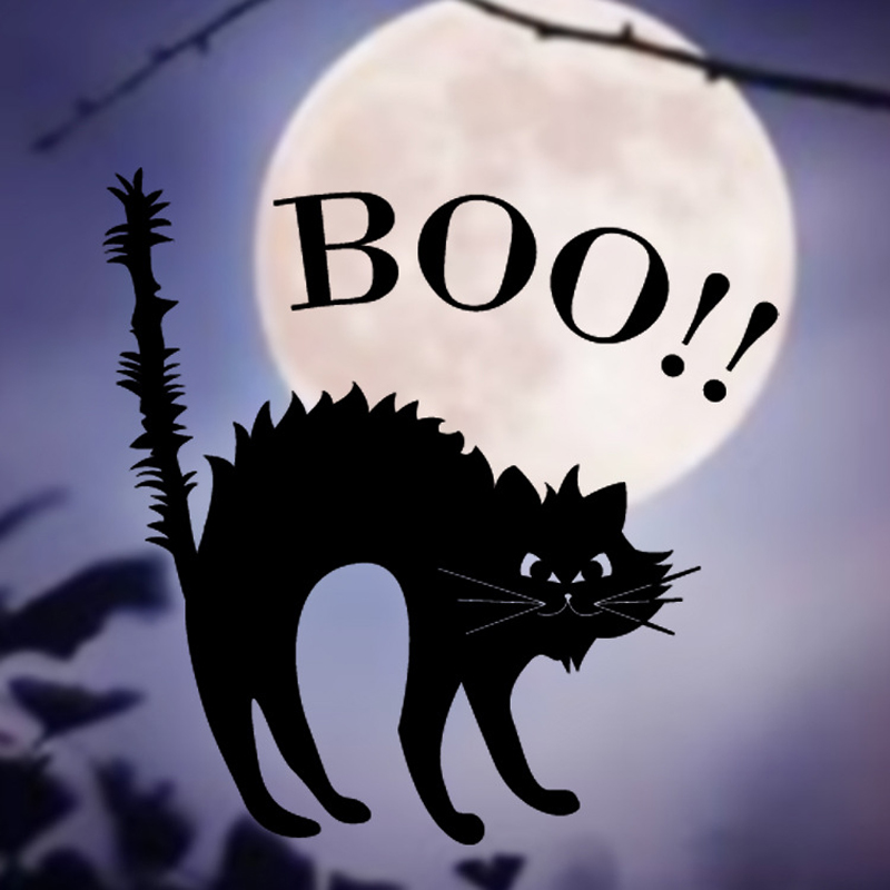 2017 popular vinyl removable wall stickers halloween black cats decor decals for walls window home decoration stickers zhh1059 - Halloween Cat Decorations