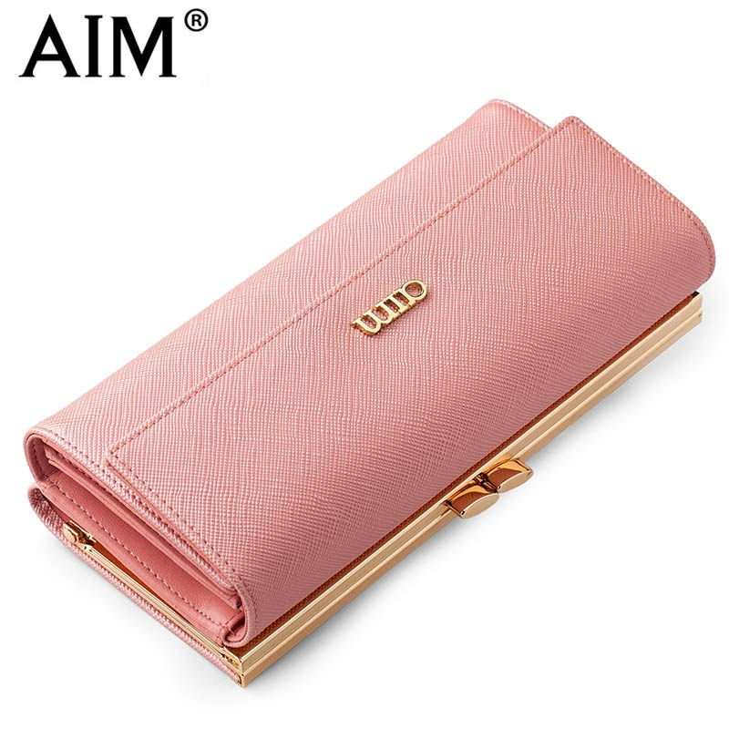 AIM Fashion Female Purse Long Design Pink Women Wallets High Quality Leather Women Coin Purse Phone