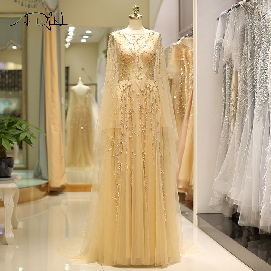 ADLN Gold Evening   Dresses   Sparkling Beading A-line Cap Sleeve Long   Prom     Dress   Vestidos De Noite Formal Evening Gowns