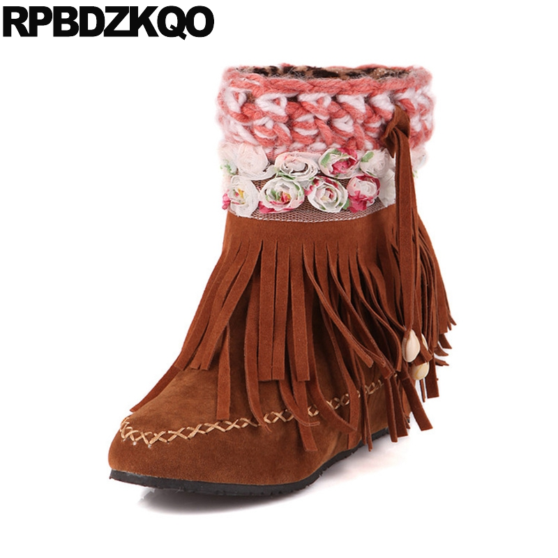 Brown Cute Fringe Slip On Flower Shoes Height Increased Women Ankle Boots 2016 Round Toe Autumn 10 Big Size Cheap Short Suede round toe suede slip on plimsolls
