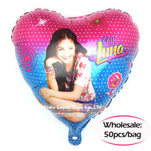 50pcs/bag NEW Heart Shape Soy Luna foil balloons 18″ helium balloon toys kids birthday party decoration supplies gifts