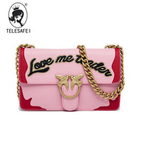 Yan Double Lock Chain Bag Color Letters Embroidered Leather Wine Small Shoulder Bag Leather Handbag