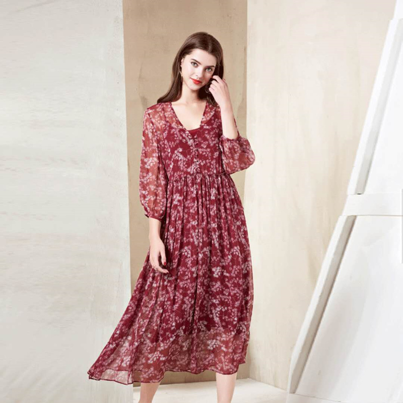 Women Real Silk Floral Long Dress V Neck Female Red A Line Chic Style Elegant Party Dresses Lady Mid Calf Plus Size Summer Dress leonor greyl маска с цветами орхидеи для волос masque a lorhidee 200 мл