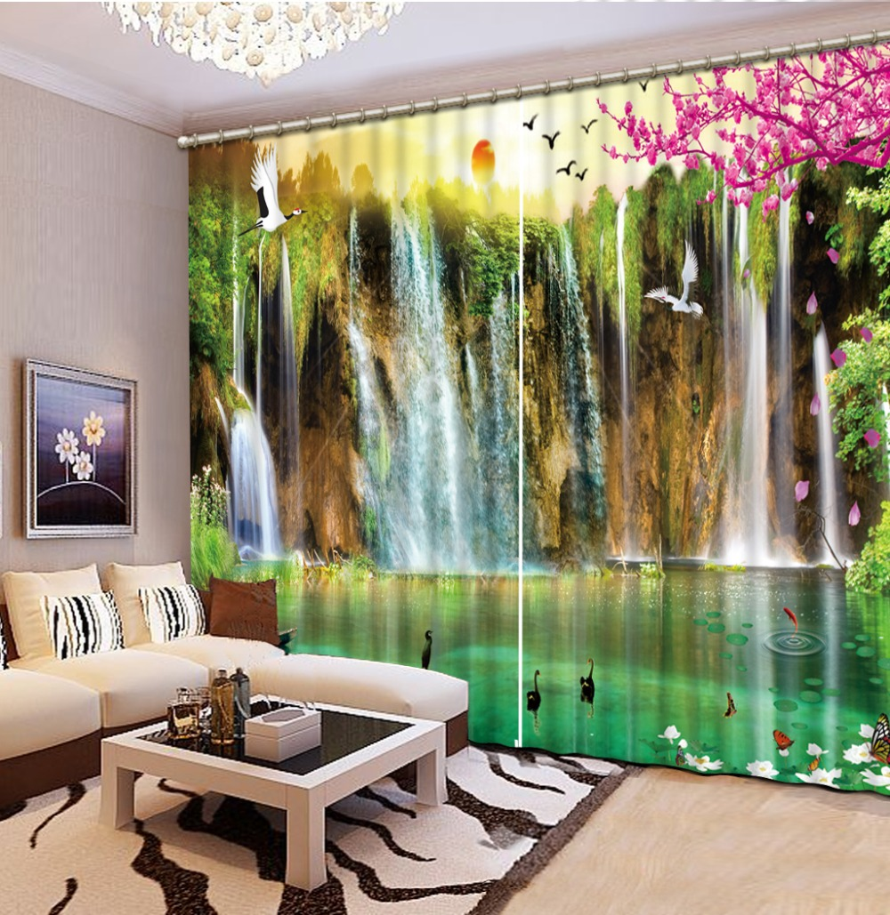 Modern Curtains Painting Flower 3D Blackout Curtains Living Room Bedroom  Waterfalls Landscape 3D Curtains Home Decoration In Curtains From Home U0026  Garden On ...